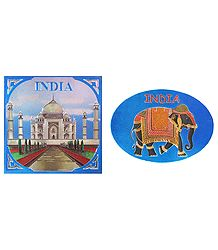 Taj Mahal and Elephant - Metal Magnet