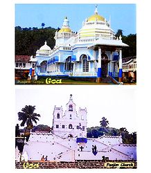 Mangesh Temple and Panjim Church - Set of 2 Magnets