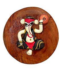 Stone Dust Musician Ganesha on Wooden Base - Magnet