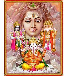 Brahma, Vishnu Shiva and Ganesha - Poster