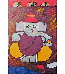Ganesha with Om and Swastik (Auspicious Hindu Symbols)