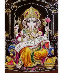 Lord Ganesha Writing - Glitter Poster