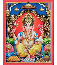 Ganesha on Cardboard - Wall Hanging