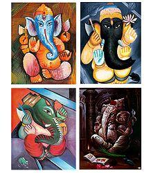 Set of 4 Ganesha Posters