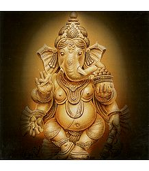 Lord Ganesha Holding His Broken Tusk and Modakam