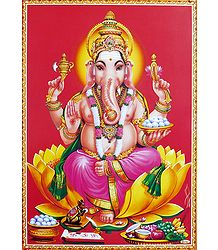 Lord Ganesha Sitting on Lotus