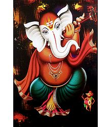 Ganesha Playing Shehnai - Unframed Poster