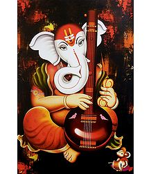 Ganesha Playing Tanpura - Unframed Poster