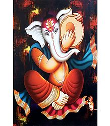 Ganesha Playing Daffli - Unframed Poster