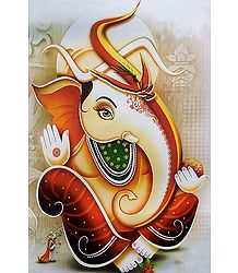 Ganesha with Modakam in Hand - Unframed Poster
