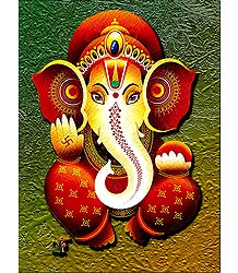 Lord Ganapati with Right Turning Trunk - Poster