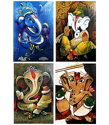 Lord Ganapati - Set of 4 Posters