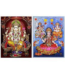 Lakshmi, Saraswati and Ganesha - Set of 2 Glitter Posters