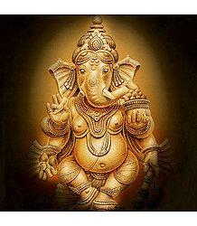 Lord Ganesha Holding His Broken Tusk and Modakam