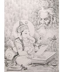 Lord Ganesha Writing the Mahabharata as Narrated by Sage Veda Vyasa