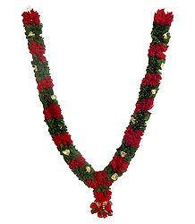 Red with Green Cloth Garland