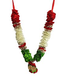 Red, Green with Off-White Cloth Garland