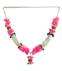 Buy Pink Ribbon Garland with White Beads