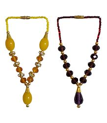 Set of 2 Yellow and Purple Beaded Small Garlands for Deity