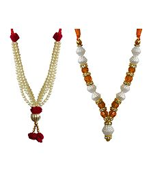 Set of 2 White, Saffron and Golden Beaded Small Garlands for Deity