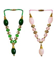 Set of 2 Pink and Green Beaded Small Garlands for Deity