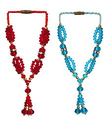 Set of 2 Red and Blue Beaded Small Garlands for Deity