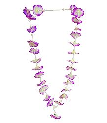 Purple with White Synthetic Cloth Garland