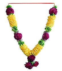Yellow, Purple and Green Cloth Garland
