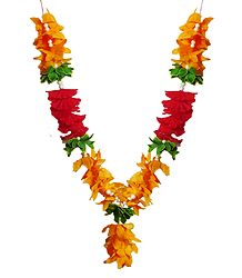 Saffron, Red and Green Cloth Flower Garland
