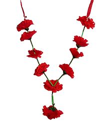 Red Cloth Hibiscus Flower Garland