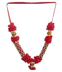 Red Ribbon Garland with Golden Beads