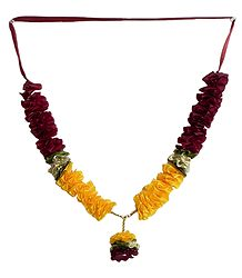 Yellow with Maroon Ribbon Garland