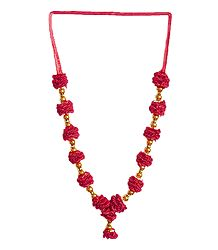 Golden Bead with Red Ribbon Garland
