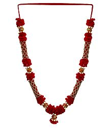 Red Ribbon with Golden Beads Garland
