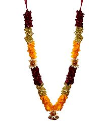 Maroon, Yellow, Golden Ribbon Garland