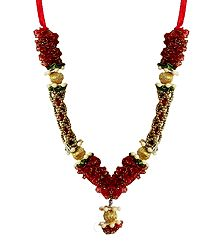 Red Net with Golden Beads Garland