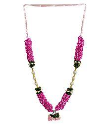 White Bead and Rose Pink Satin Ribbon Garland