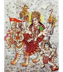 Vaishno Devi with Bhairav and Hanuman -  Glitter Poster