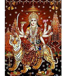 Sherawali Mata - Glitter Poster