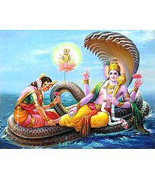 Brahma Emerging From The Navel of Vishnu with Lakshmi At His Feet - Poster