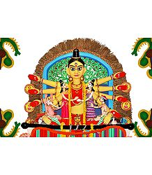 Durga in Kalighat Pata Style - Photo Print