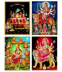 Durga, Bhagawati, Vaishno Devi - Set of 4 Posters