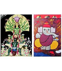 Durga - Conqueror of Evil, and Ganesha - Set of 2 Posters