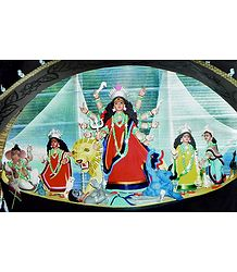 Mahishasuramardini Durga with Her Children on a Boat