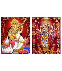 Saraswati and Nava Durga - Set of 2 Glitter Posters