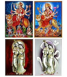 Radha Krishna and Bhagawati - Set of 4 Posters