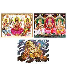 Lakshmi, Saraswati and Ganesha - Set of 3 Posters