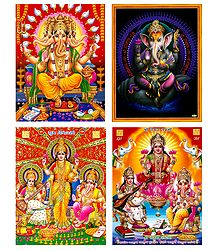 Lakshmi, Saraswati and Ganesha - Set of 4 Unframed Posters