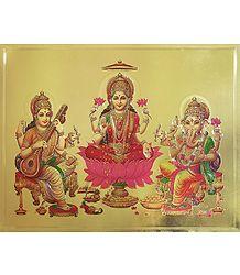 Lakshmi, Saraswati and Ganesha - Metallic Poster