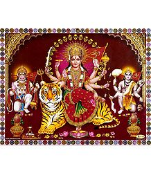 Bhagawati with Bhairav and Hanuman - Glitter Poster